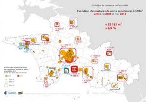 Carte de l'évolution des surfaces de ventre supérieures à 300m² en Cornouaille (mi 2009-mai 2012)