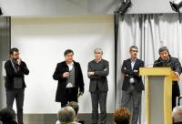 Thibaut Alnet (QCD), Bruno Le Port, président de la CCCSPR, Yvan Pellé (RCF), Gilles Coffin (Praxidev) et Henri Goardon, vice-président de la CCCSPR © Le Télégramme
