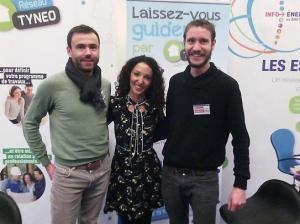 Emmanuelle Rivassoux, marraine de la 21e édition du Salon de l'Habitat de Quimper, en visite sur le stand commun réseau TYNEO / Espace->Info Energie - QCD 2018