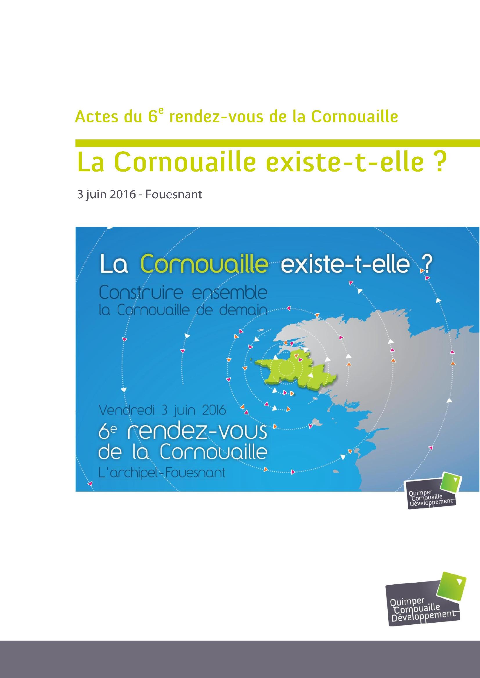 Actes du 6e rendez-vous de la Cornouaille (juillet 2016)