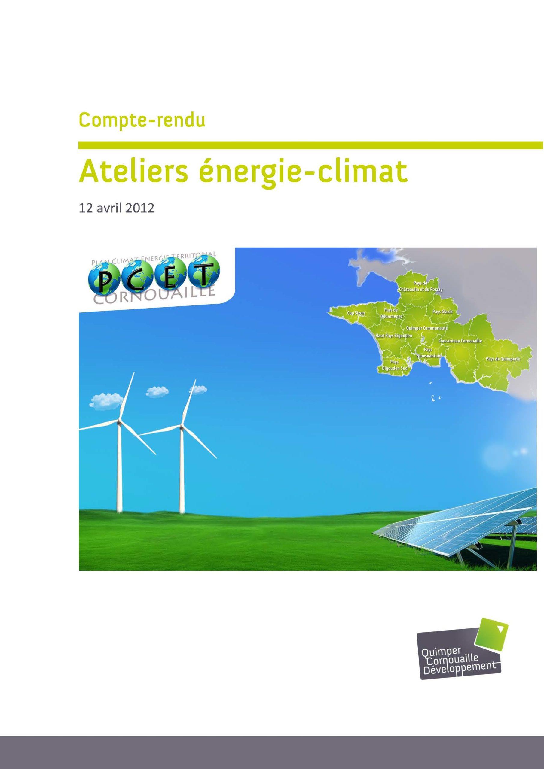 Couverture du compte rendu Ateliers énergie climat de Cornouaille - 12 avril 2012