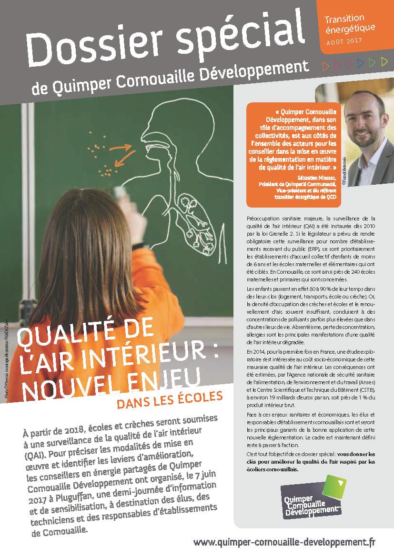 Dossier spécial de Quimper Cornouaille Développement. Qualité de l'Air Intérieur: nouvel enjeu dans les écoles (septembre 2017)