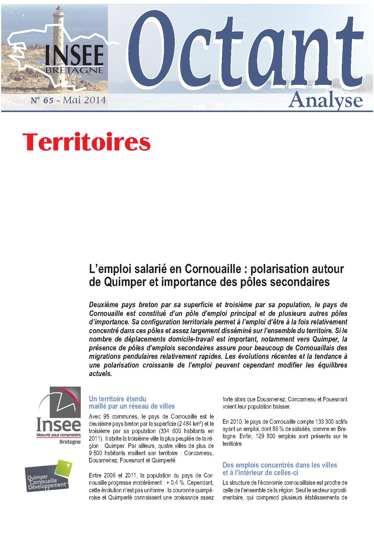 L'emploi salarié en Cornouaille : polarisation autour de Quimper et importance des pôles secondaires (Octant analyse