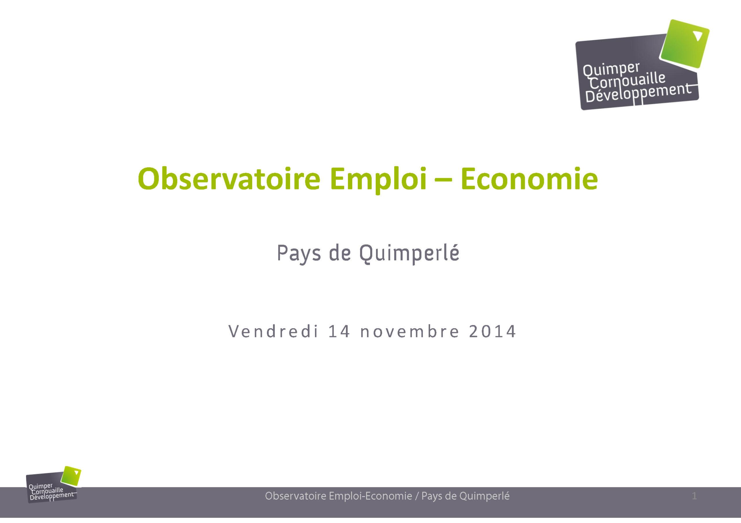 Observatoire Emploi-Economie. Pays de Quimperlé 2014 - présentation à la Cocopaq le 14 novembre 2014