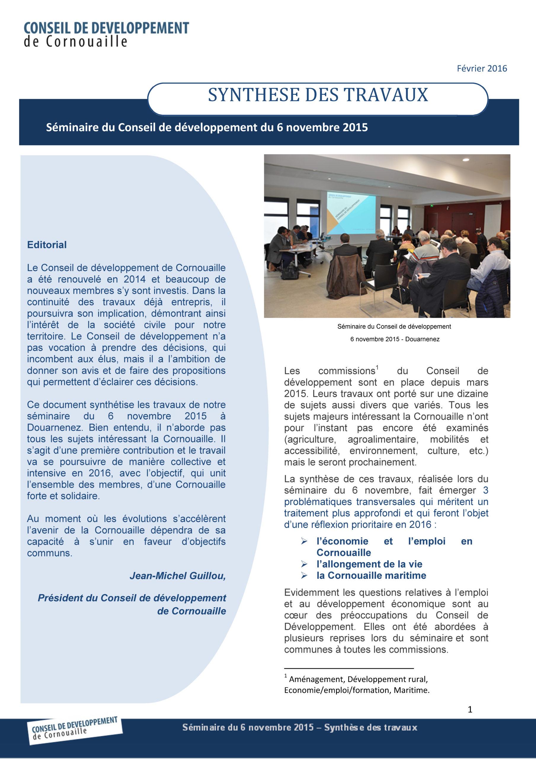 Synthèse des travaux du séminaire du Conseil de développement de Cornouaille du 6 novembre 2015