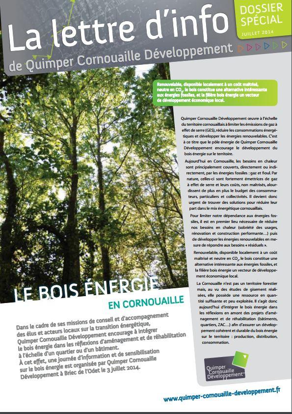 Dossier spécial de Quimper Cornouaille Développement. Le bois énergie en Cornouaille 2014