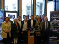 """Lancement de la campagne de promotion """"Ces marques qui font la Cornouaille"""" - Conférence de presse du 28 mars 2017 en présence d'élus de Cornouaille et d'entreprises dont les marques ont été citées."""