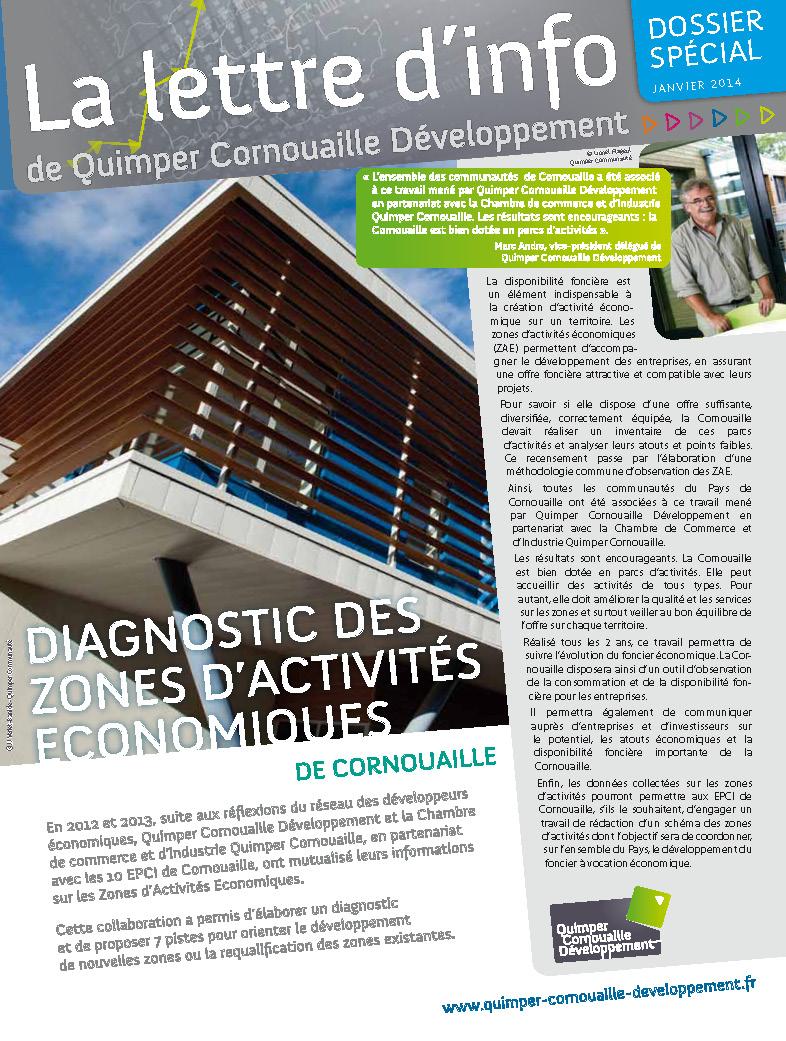 Dossier spécial de Quimper Cornouaille Développement. Diagnostic des Zones d'Activités Economiques de Cornouaille (janvier 2014)