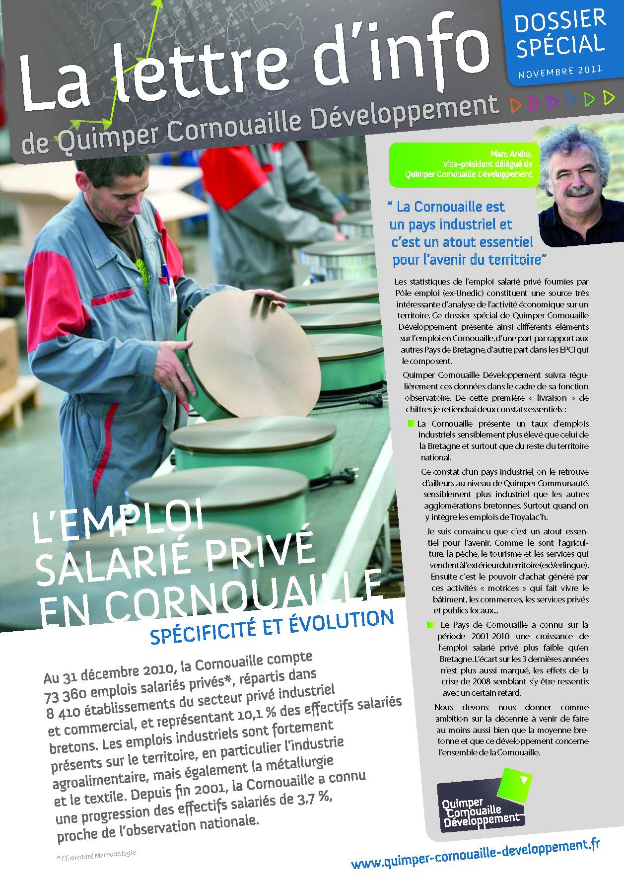 Dossier spécial de Quimper Cornouaille Développement. L'emploi salarié privé en Cornouaille