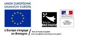 Logos financement FEAMP Europe, Etat, région Bretagne