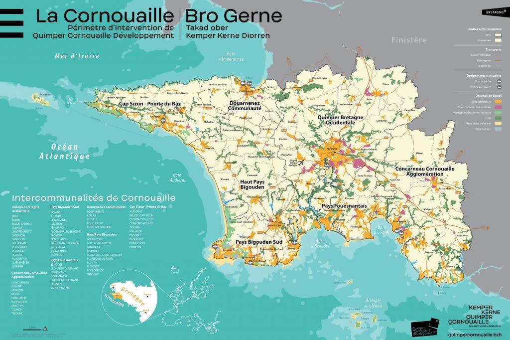 Carte de Cornouaille réalisée par Quimper Cornouaille Développement (2020)