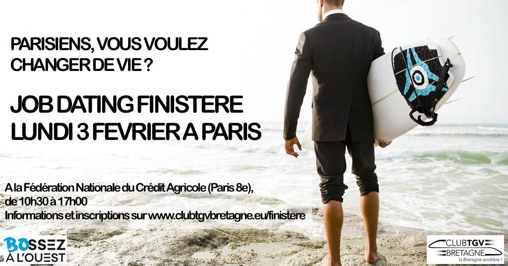 Afficvhe Job dating Parisiens vous voulez changer de vie? du Club TGV Bretagne