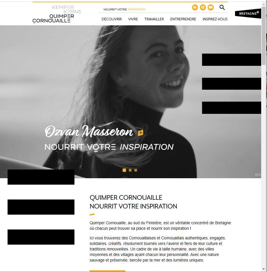 Page d'accueil du site quimpercornouaille.bzh