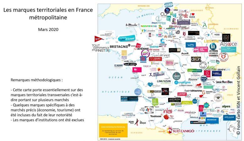 carte des marques territoriales de France métropolitaine du site marketing-territorial.org de Vincent Gollain, mars 2020
