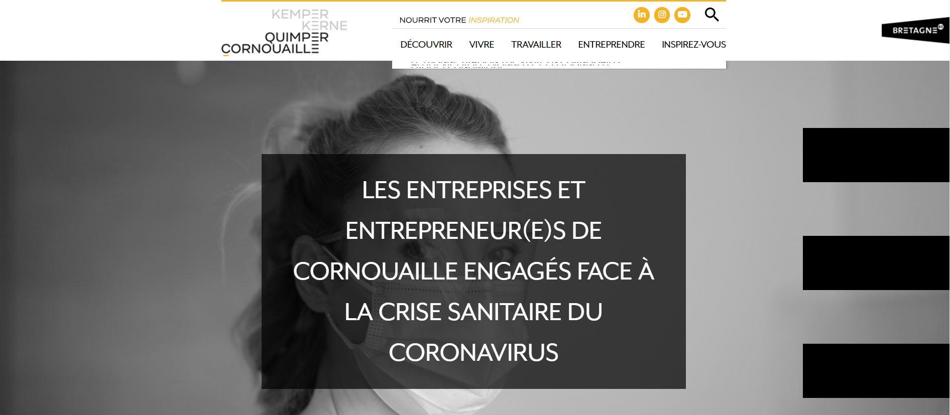 Page covid-19 de la plateforme attractivité www.quimpercornouaille.bzh