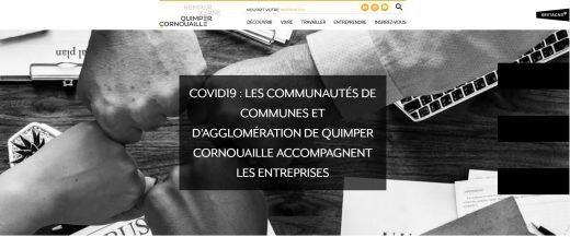 Site www.quimpercornouaille.bzh, page sur le soutien apportées aux entreprises par les développeurs économiques des EPCI de Cornouaille