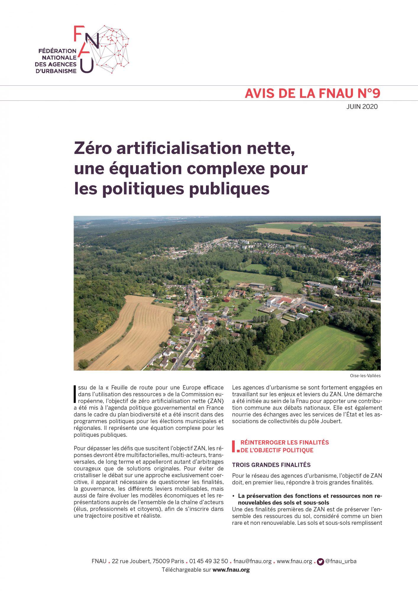 Avis FNAU n°9, zéro artificialisation nette (juin 2020)