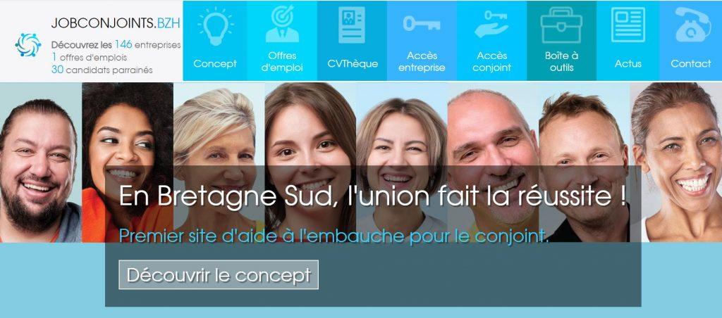 Page d'accueil du site www.jobconjoints.bzh