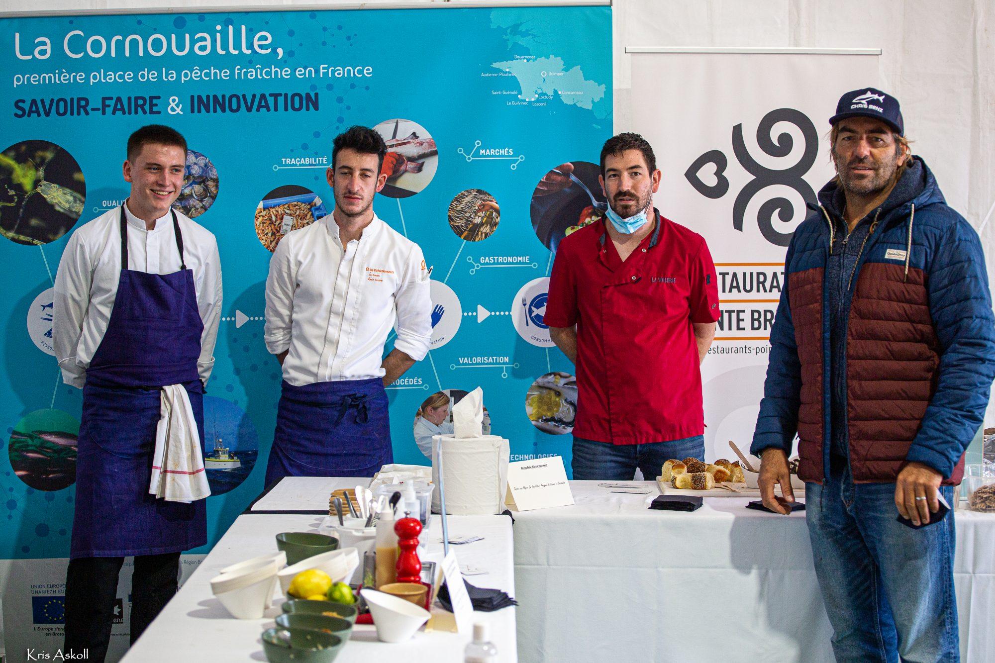 Restaurateurs Pointe de Bretagne et Antoine Albeau (champion du monde de windsurf à de multiples reprises)
